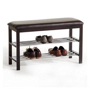Sitzbank Schuhbank SANA ? 1 x gepolsterter Sitzfläche? 2 x Schuhablagen  ? So lassen sich die Schuhe im Hausflur gemütlich im Sitzen anziehen und unter der Schuhbank werden problemlos circa  8 bis 10 Paar Schuhe verstaut.