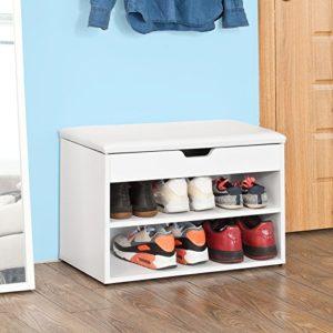 SoBuy Schuhbank, Sitzbank, Schuhregal  FSR25-W ?  2 x Böden bieten genug Platz für Ihre Schuhe ? 1 x geräumiges Staufach unter der Sitzfläche ermöglicht es Ihnen diverse Utensilien wie z.B.Schuhputzmaterial aufzubewahren ? 1 x Sitzfläche ?