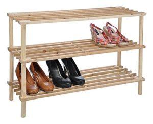 Holz Schuhregal massiv Schuhständer ? 3 x Ebenen ? Für ca. 9 Paar Schuhe